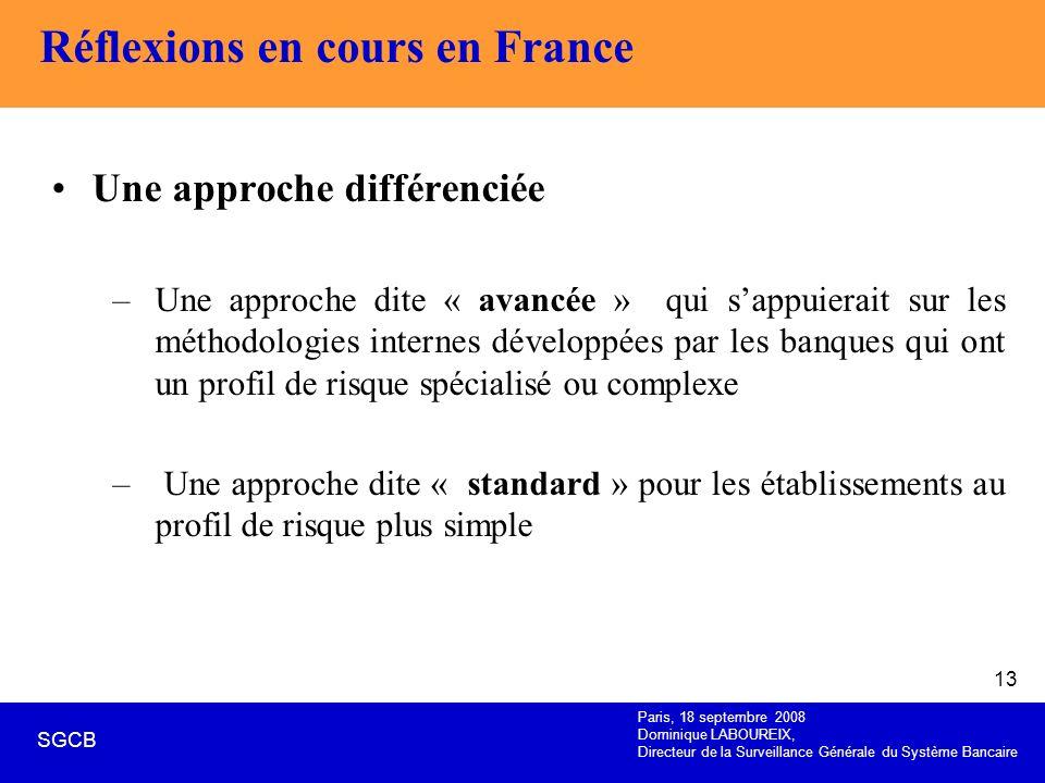 Paris, 18 septembre 2008 Dominique LABOUREIX, Directeur de la Surveillance Générale du Système Bancaire SGCB 13 Réflexions en cours en France Une appr