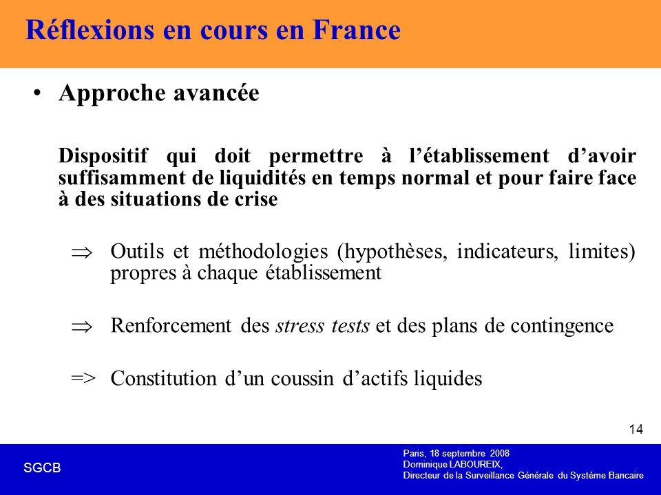 Paris, 18 septembre 2008 Dominique LABOUREIX, Directeur de la Surveillance Générale du Système Bancaire SGCB 14 Réflexions en cours en France Approche