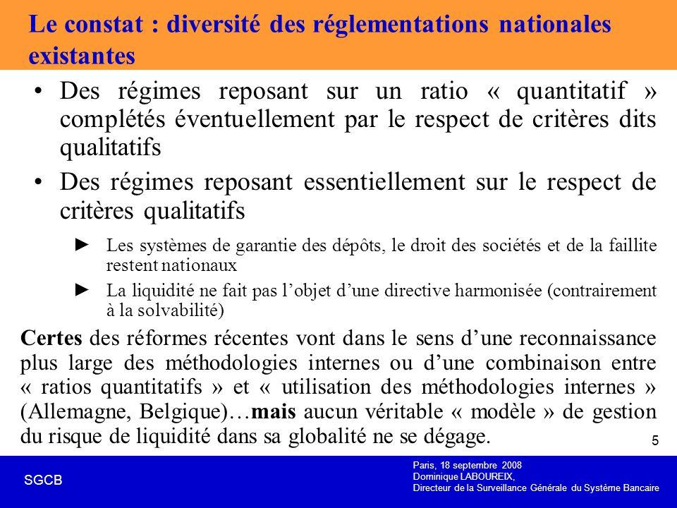 Paris, 18 septembre 2008 Dominique LABOUREIX, Directeur de la Surveillance Générale du Système Bancaire SGCB 5 Le constat : diversité des réglementati