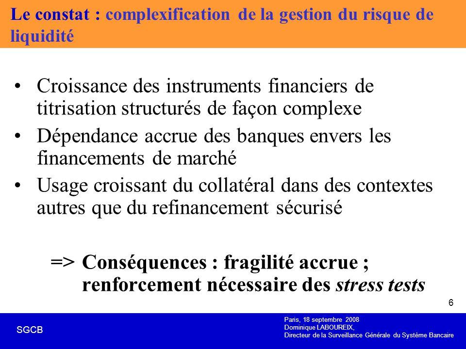Paris, 18 septembre 2008 Dominique LABOUREIX, Directeur de la Surveillance Générale du Système Bancaire SGCB 6 Le constat : complexification de la ges