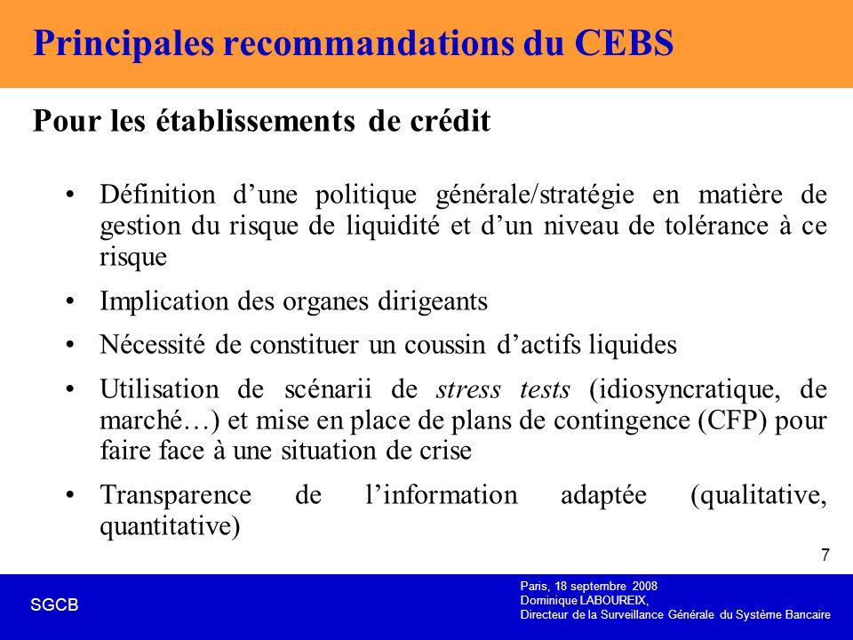 Paris, 18 septembre 2008 Dominique LABOUREIX, Directeur de la Surveillance Générale du Système Bancaire SGCB 7 Principales recommandations du CEBS Pou