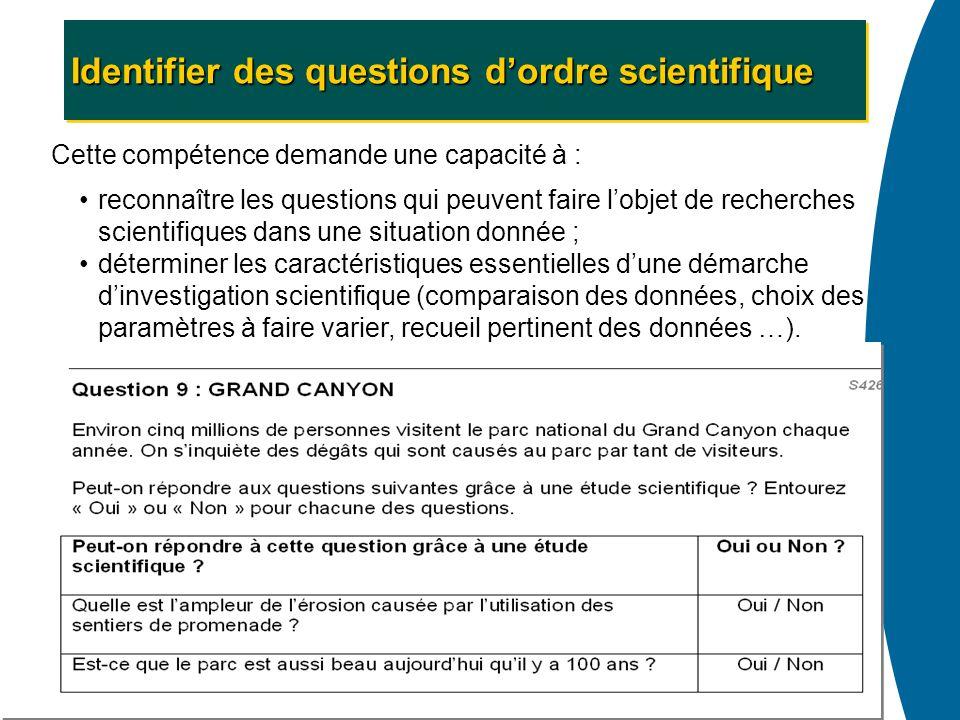 Identifier des questions dordre scientifique Cette compétence demande une capacité à : reconnaître les questions qui peuvent faire lobjet de recherche