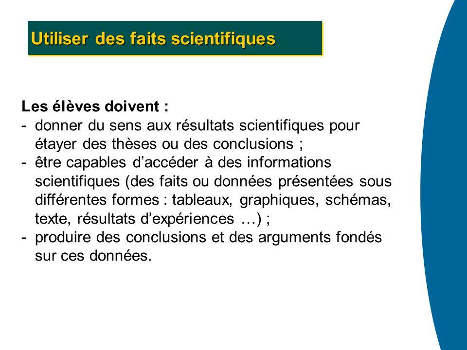 Utiliser des faits scientifiques Les élèves doivent : -donner du sens aux résultats scientifiques pour étayer des thèses ou des conclusions ; -être ca