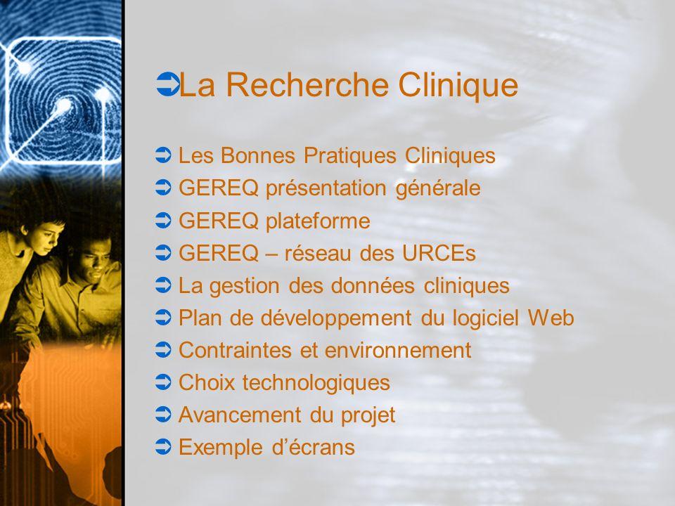 La Recherche Clinique Les bonnes Pratiques Cliniques GEREQ présentation générale GEREQ plateforme GEREQ – réseau des URCEs La gestion des données cliniques Plan de développement du logiciel Web Contraintes et Environnement Choix technologiques Avancement du projet Exemples décrans