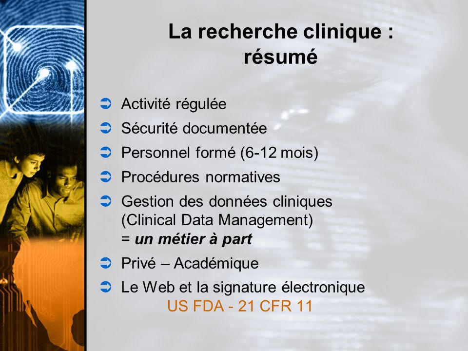 Accès à un outil de gestion de données conforme aux exigences du SC, US FDA et CIH.