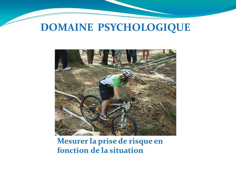 Mesurer la prise de risque en fonction de la situation DOMAINE PSYCHOLOGIQUE