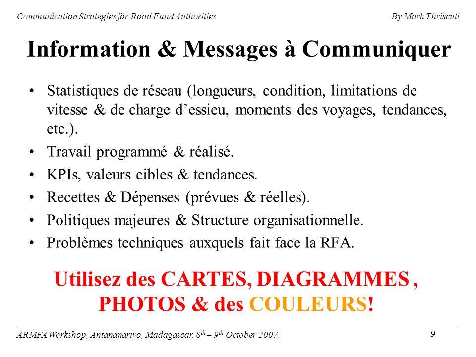 10 Communication Strategies for Road Fund Authorities ARMFA Workshop, Antananarivo, Madagascar, 8 th – 9 th October 2007.