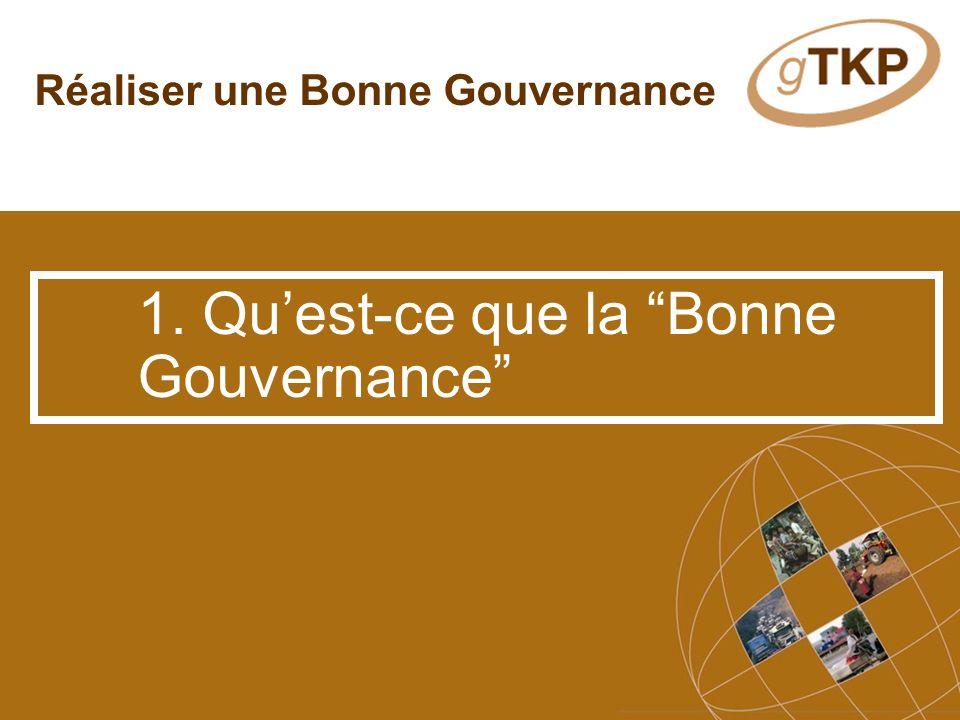 Réaliser une Bonne Gouvernance 1. Quest-ce que la Bonne Gouvernance