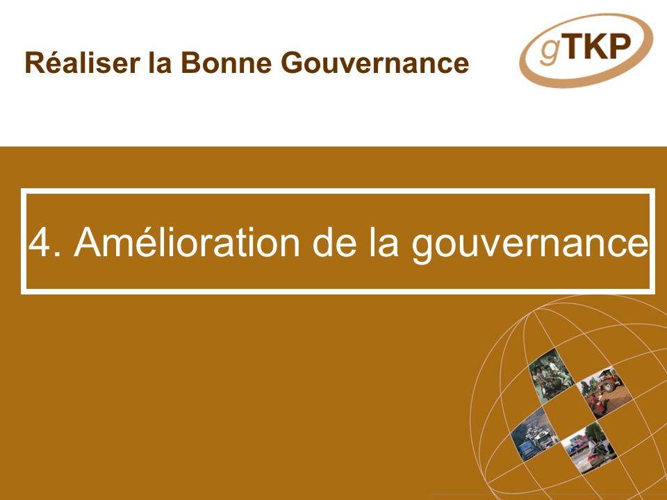 Réaliser la Bonne Gouvernance 4. Amélioration de la gouvernance