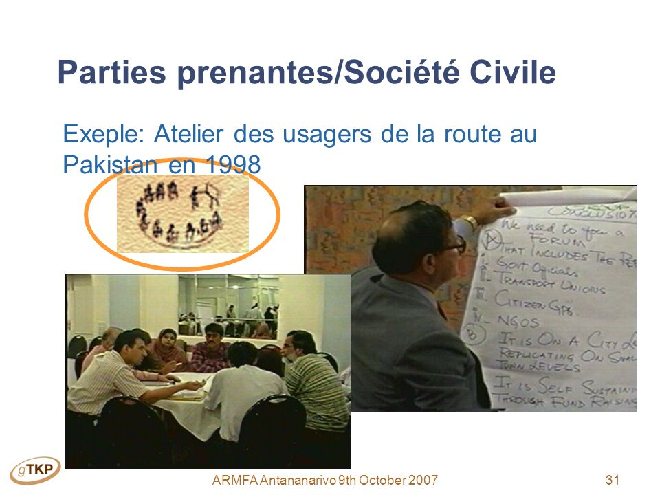 31ARMFA Antananarivo 9th October 2007 Parties prenantes/Société Civile Exeple: Atelier des usagers de la route au Pakistan en 1998