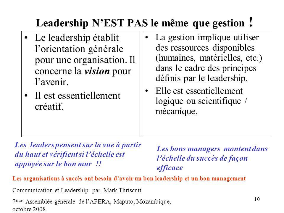 10 Leadership NEST PAS le même que gestion ! Le leadership établit lorientation générale pour une organisation. Il concerne la vision pour lavenir. Il
