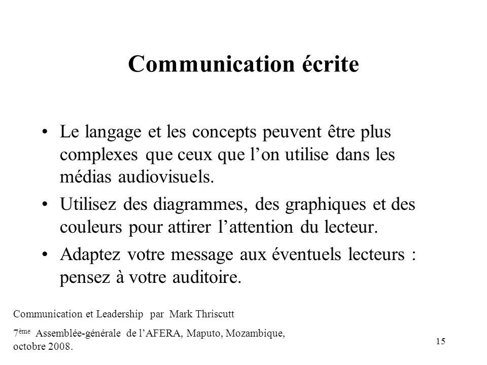 15 Communication écrite Le langage et les concepts peuvent être plus complexes que ceux que lon utilise dans les médias audiovisuels. Utilisez des dia