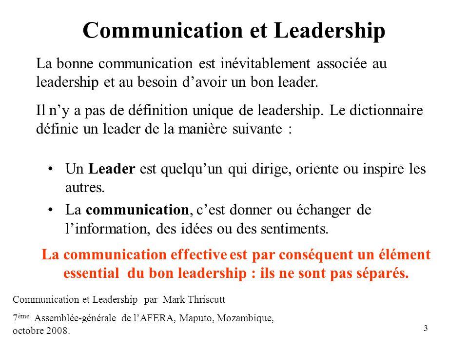 3 Communication et Leadership Un Leader est quelquun qui dirige, oriente ou inspire les autres. La communication, cest donner ou échanger de linformat