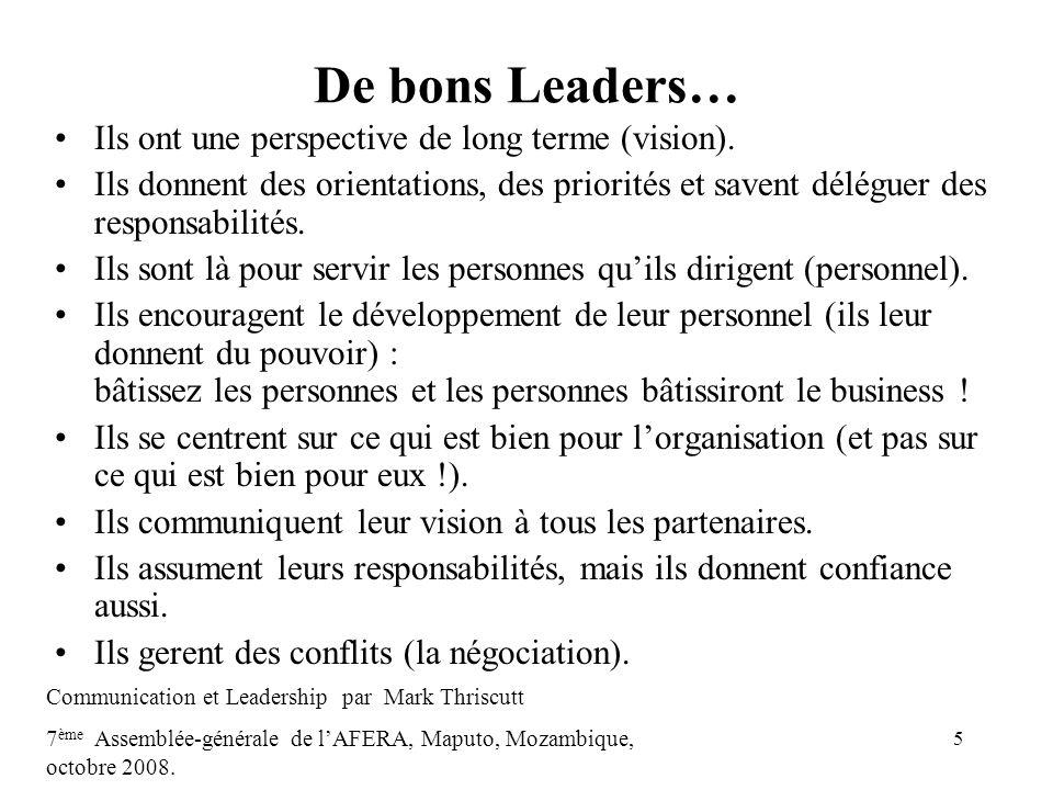 6 Styles de Leadership Autoritaire (formel) Informel (influence) Collaboratif Centré sur des principes Centré sur des personnes Centré sur des Objectifs Politique Communication et Leadership par Mark Thriscutt 7 ème Assemblée-générale de lAFERA, Maputo, Mozambique, octobre 2008.