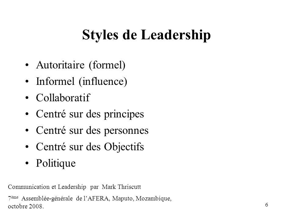 6 Styles de Leadership Autoritaire (formel) Informel (influence) Collaboratif Centré sur des principes Centré sur des personnes Centré sur des Objecti