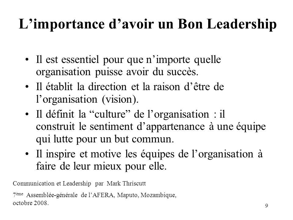 9 Limportance davoir un Bon Leadership Il est essentiel pour que nimporte quelle organisation puisse avoir du succès. Il établit la direction et la ra