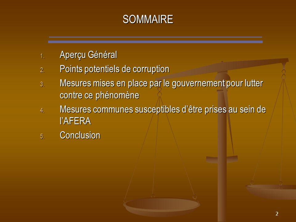 2 SOMMAIRE 1. Aperçu Général 2. Points potentiels de corruption 3.