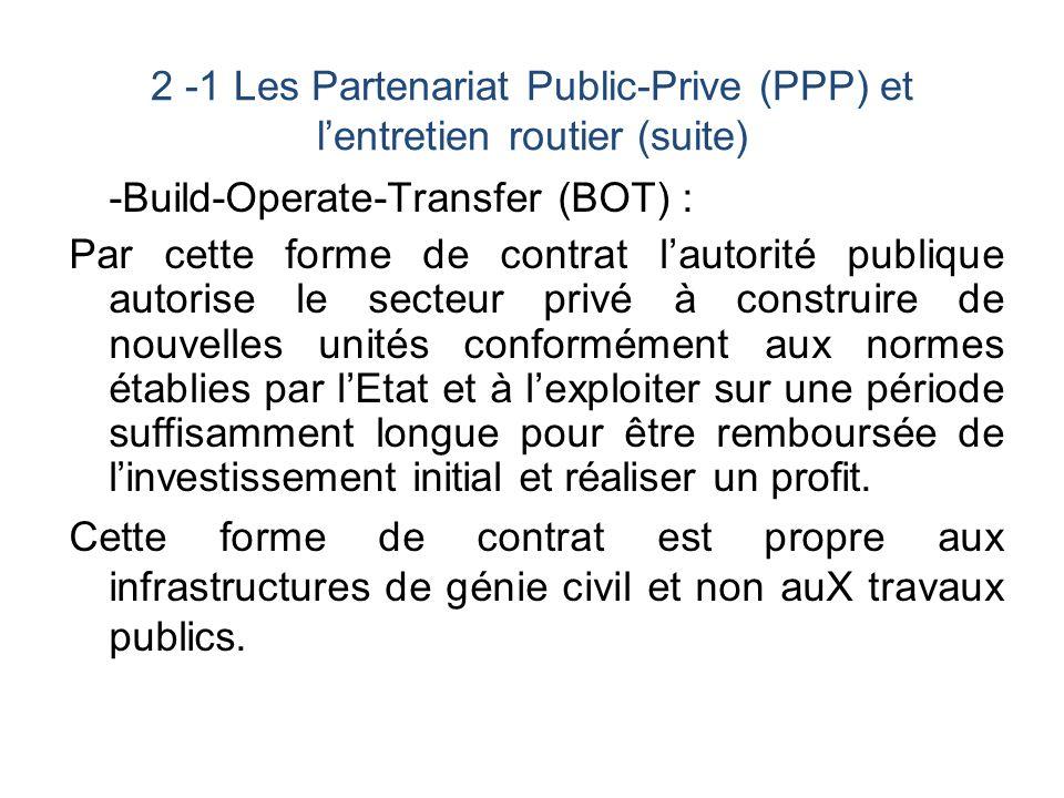 Concession : Par ce contrat, lEtat attribue à une entreprise privée lentière responsabilité de la construction dune infrastructure et de sa gestion.