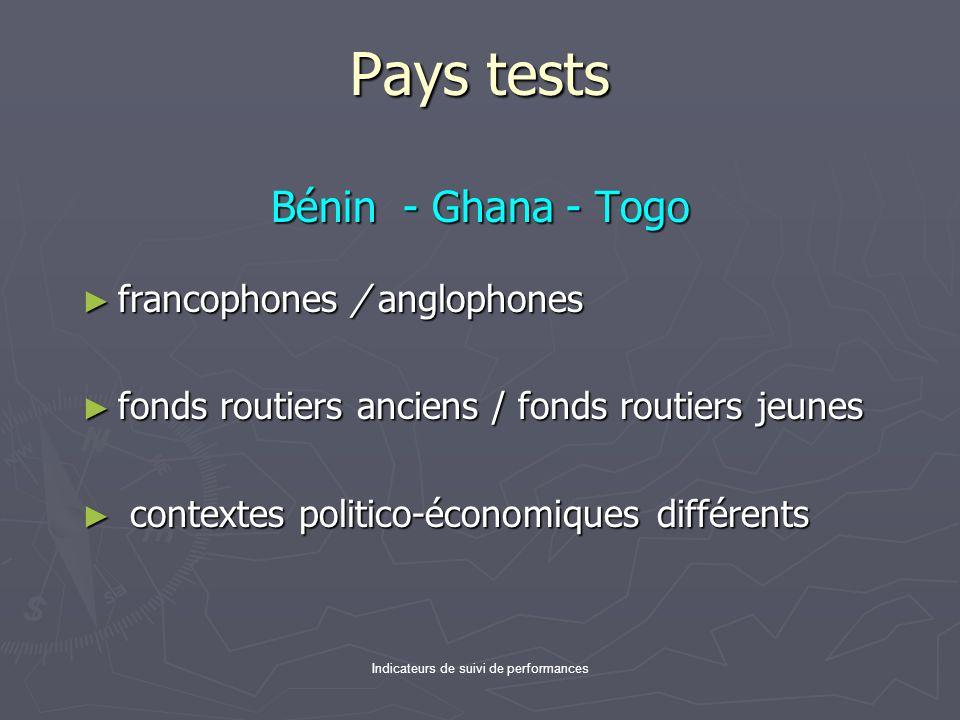 Indicateurs de suivi de performances Pays tests Bénin - Ghana - Togo francophones / anglophones francophones / anglophones fonds routiers anciens / fo