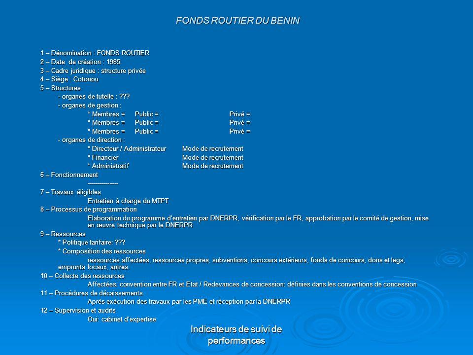 Indicateurs de suivi de performances FONDS ROUTIER DU BENIN FONDS ROUTIER DU BENIN 1 – Dénomination : FONDS ROUTIER 2 – Date de création : 1985 3 – Ca