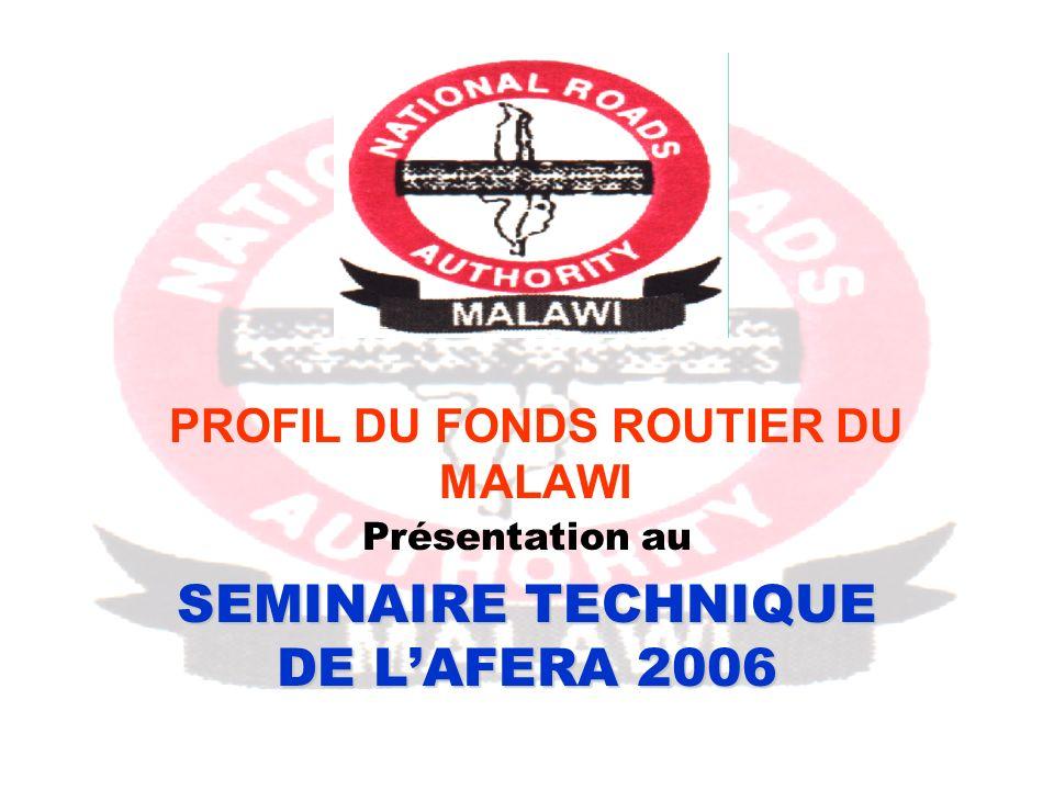 PROFIL DU FONDS ROUTIER DU MALAWI Présentation au SEMINAIRE TECHNIQUE DE LAFERA 2006
