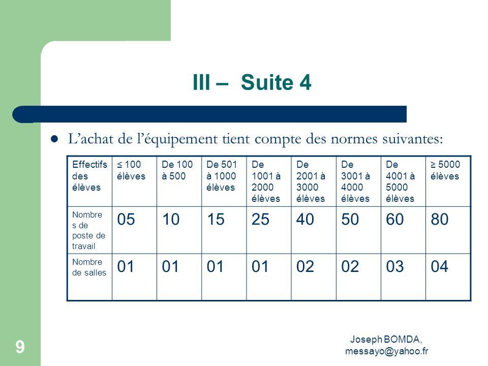 Joseph BOMDA, messayo@yahoo.fr 9 III – Suite 4 Lachat de léquipement tient compte des normes suivantes: Effectifs des élèves 100 élèves De 100 à 500 D