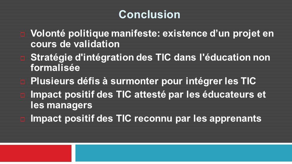 Conclusion Volonté politique manifeste: existence dun projet en cours de validation Stratégie d'intégration des TIC dans l'éducation non formalisée Pl