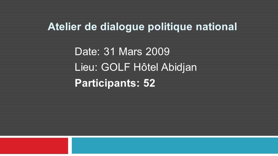 Atelier de dialogue politique national Date: 31 Mars 2009 Lieu: GOLF Hôtel Abidjan Participants: 52