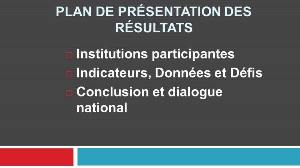 PLAN DE PRÉSENTATION DES RÉSULTATS Institutions participantes Indicateurs, Données et Défis Conclusion et dialogue national