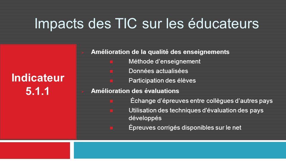 Impacts des TIC sur les éducateurs Indicateur 5.1.1 Amélioration de la qualité des enseignements Méthode denseignement Données actualisées Participati
