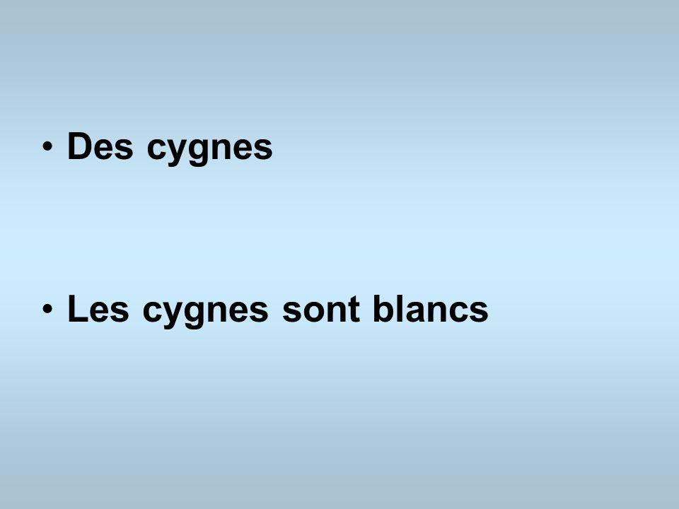 Des cygnes Les cygnes sont blancs