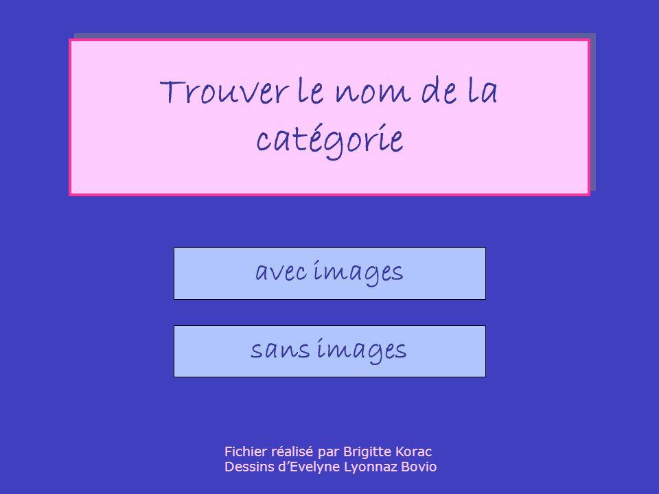 Trouver le nom de la catégorie Trouver le nom de la catégorie avec images sans images Fichier réalisé par Brigitte Korac Dessins dEvelyne Lyonnaz Bovio