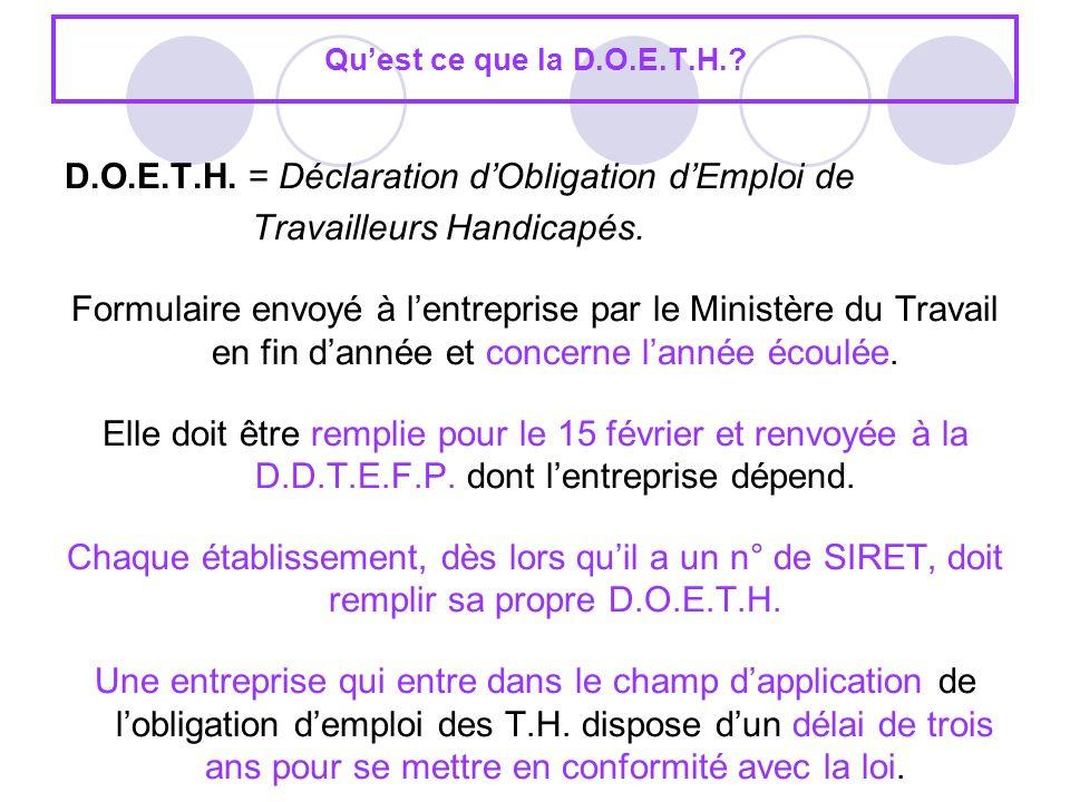 Quest ce que la D.O.E.T.H.? D.O.E.T.H. = Déclaration dObligation dEmploi de Travailleurs Handicapés. Formulaire envoyé à lentreprise par le Ministère