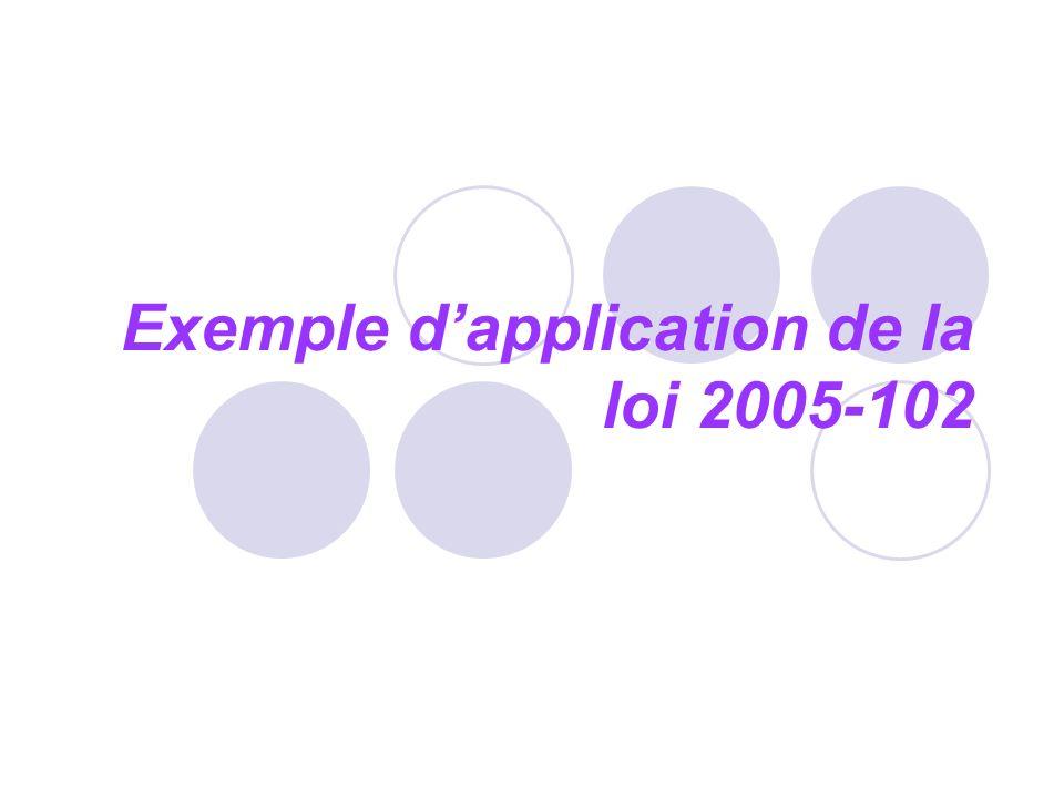 Exemple dapplication de la loi 2005-102