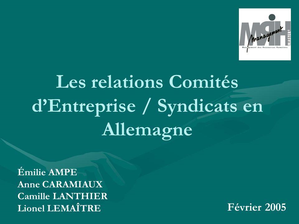 Les relations Comités dEntreprise / Syndicats en Allemagne Émilie AMPE Anne CARAMIAUX Camille LANTHIER Lionel LEMAÎTRE Février 2005