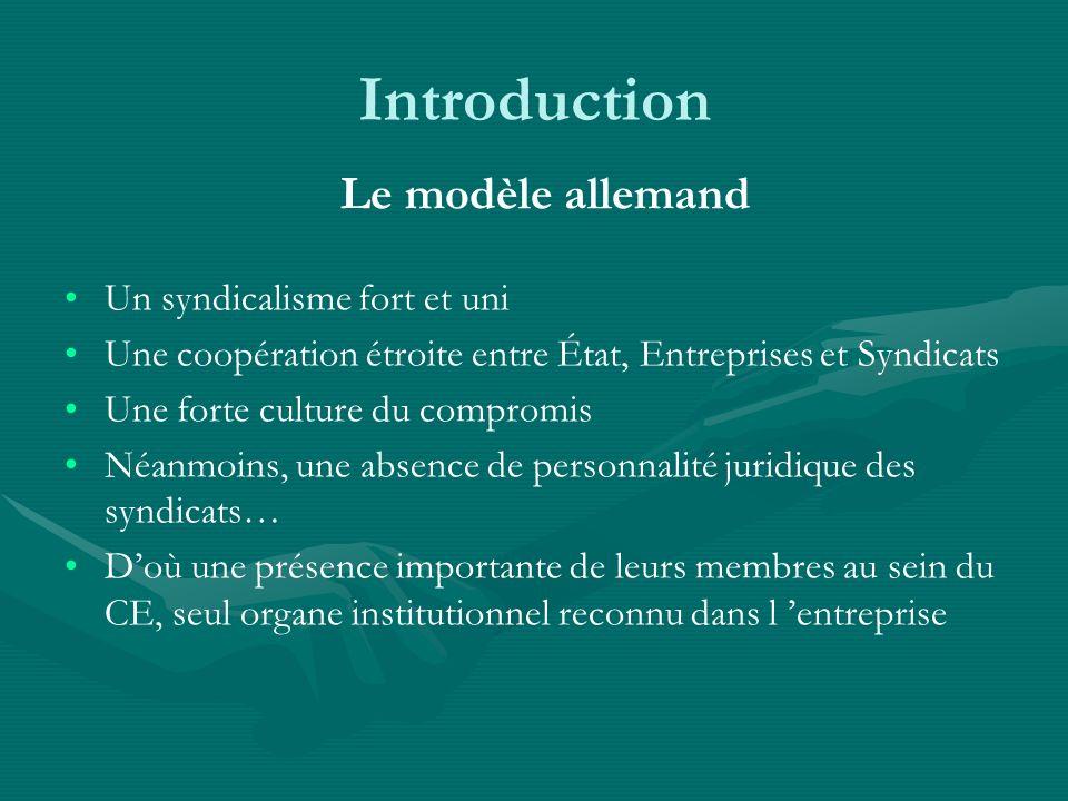 Introduction Le modèle allemand Un syndicalisme fort et uni Une coopération étroite entre État, Entreprises et Syndicats Une forte culture du compromi