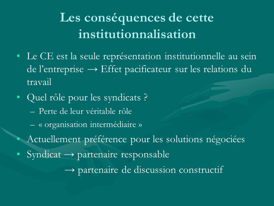 Les conséquences de cette institutionnalisation Le CE est la seule représentation institutionnelle au sein de lentreprise Effet pacificateur sur les r