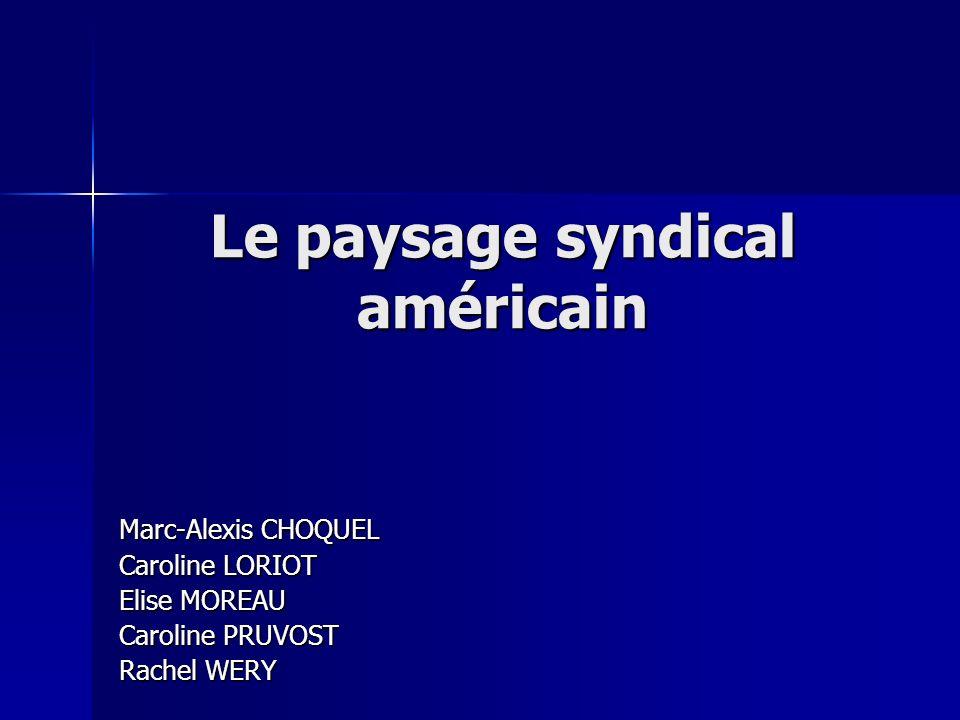 Le paysage syndical américain Marc-Alexis CHOQUEL Caroline LORIOT Elise MOREAU Caroline PRUVOST Rachel WERY