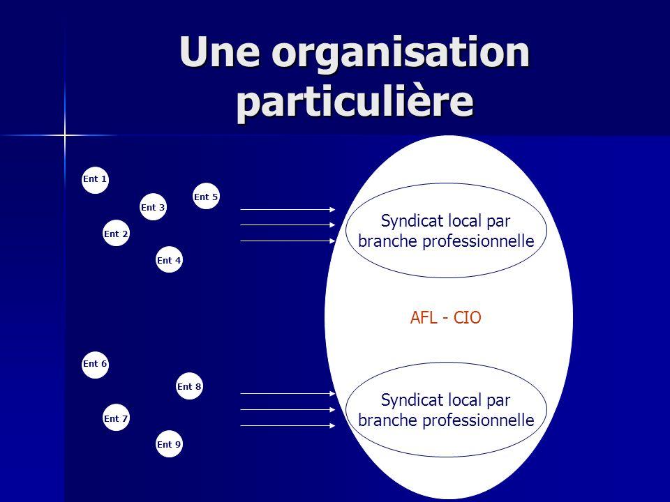 AFL - CIO Une organisation particulière Syndicat local par branche professionnelle Ent 2 Ent 1 Ent 3 Ent 4 Ent 5 Ent 7 Ent 6 Ent 8 Ent 9 Syndicat loca
