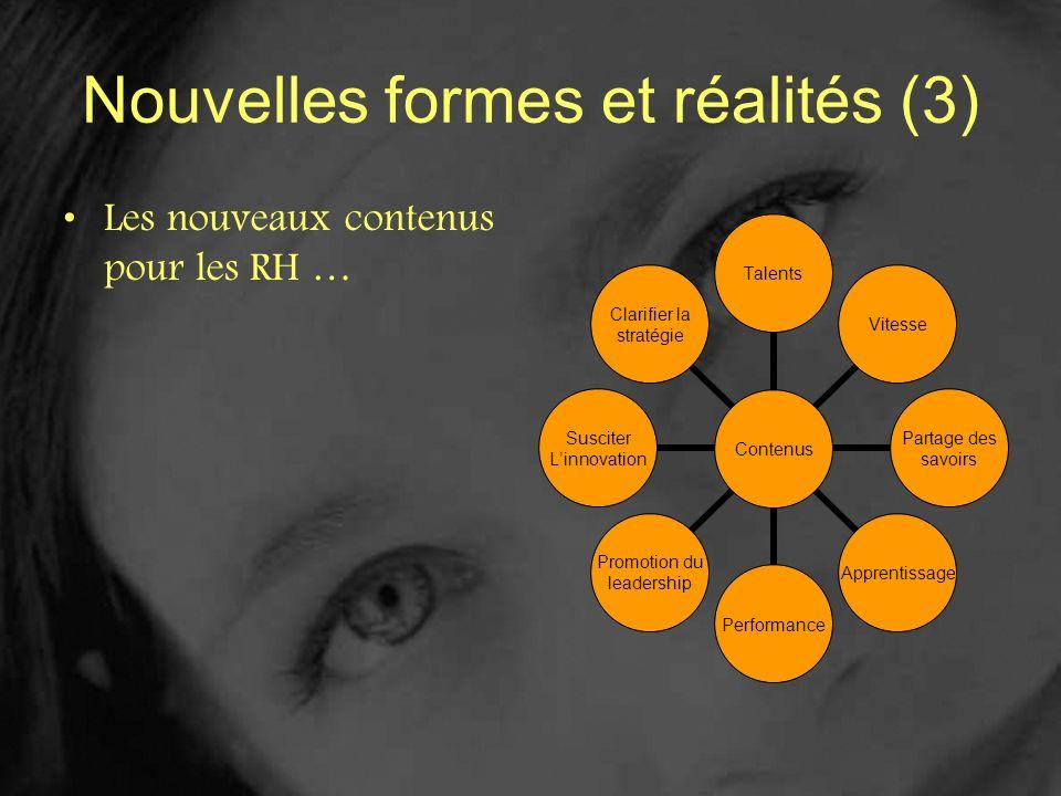 Nouvelles formes et réalités (3) Les nouveaux contenus pour les RH … Contenus TalentsVitesse Partage des savoirs Apprentissage Performance Promotion d