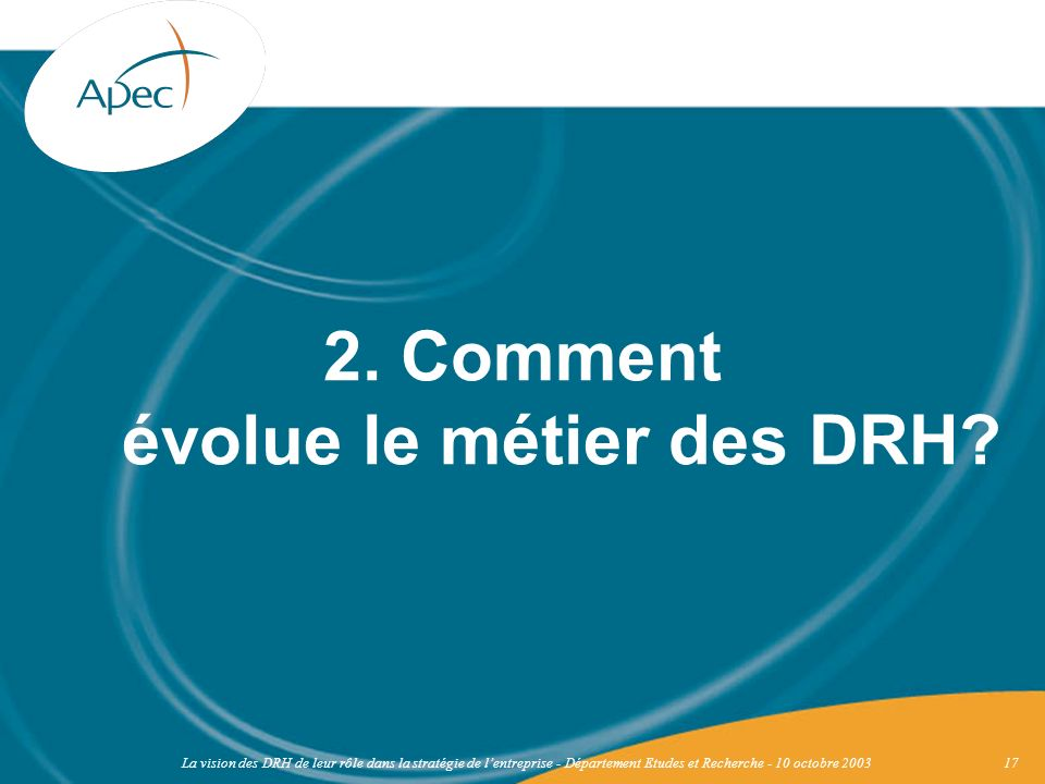 La vision des DRH de leur rôle dans la stratégie de lentreprise - Département Etudes et Recherche - 10 octobre 200317 2. Comment évolue le métier des