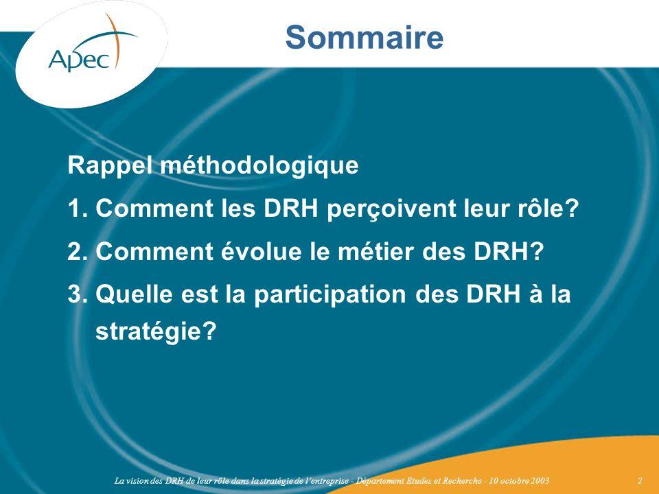 La vision des DRH de leur rôle dans la stratégie de lentreprise - Département Etudes et Recherche - 10 octobre 20033 Rappel méthodologique