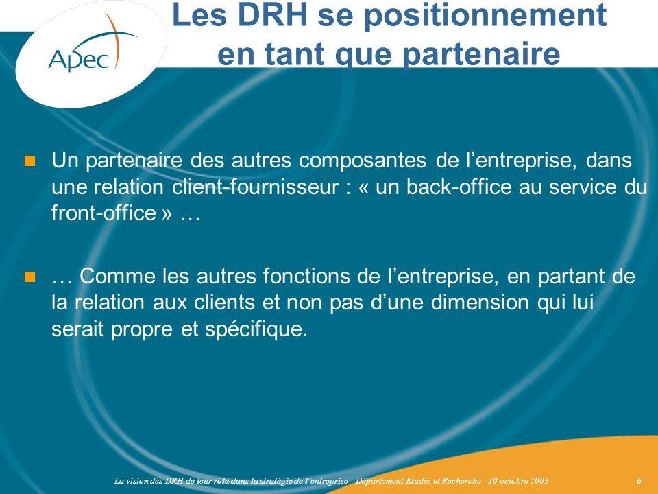 La vision des DRH de leur rôle dans la stratégie de lentreprise - Département Etudes et Recherche - 10 octobre 20036 Un partenaire des autres composan