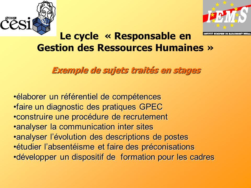 Exemple de sujets traités en stages Le cycle « Responsable en Gestion des Ressources Humaines » Exemple de sujets traités en stages élaborer un référe