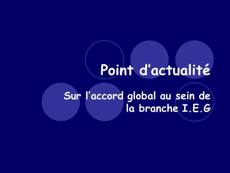 Point dactualité Sur laccord global au sein de la branche I.E.G