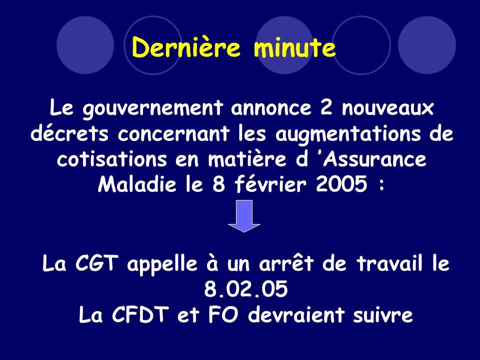 Dernière minute Le gouvernement annonce 2 nouveaux décrets concernant les augmentations de cotisations en matière d Assurance Maladie le 8 février 2005 : La CGT appelle à un arrêt de travail le 8.02.05 La CFDT et FO devraient suivre