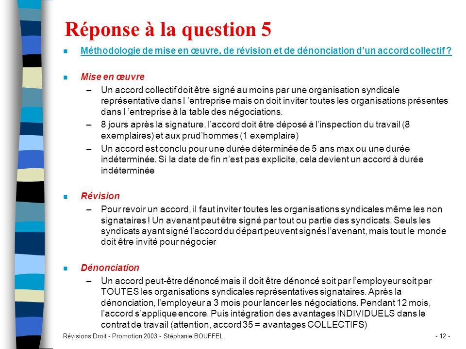 Révisions Droit - Promotion 2003 - Stéphanie BOUFFEL- 12 - Réponse à la question 5 n Méthodologie de mise en œuvre, de révision et de dénonciation dun