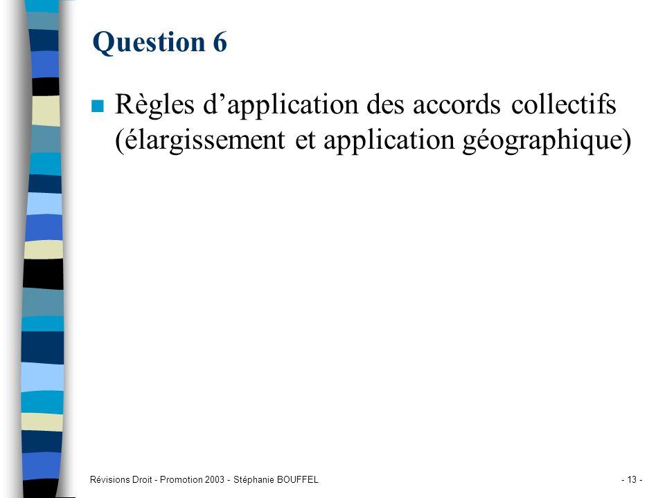 Révisions Droit - Promotion 2003 - Stéphanie BOUFFEL- 13 - Question 6 n Règles dapplication des accords collectifs (élargissement et application géogr