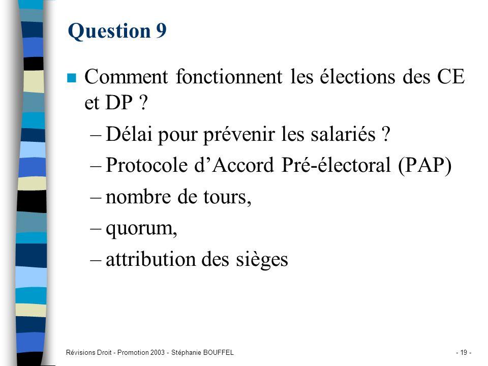 Révisions Droit - Promotion 2003 - Stéphanie BOUFFEL- 19 - Question 9 n Comment fonctionnent les élections des CE et DP ? –Délai pour prévenir les sal