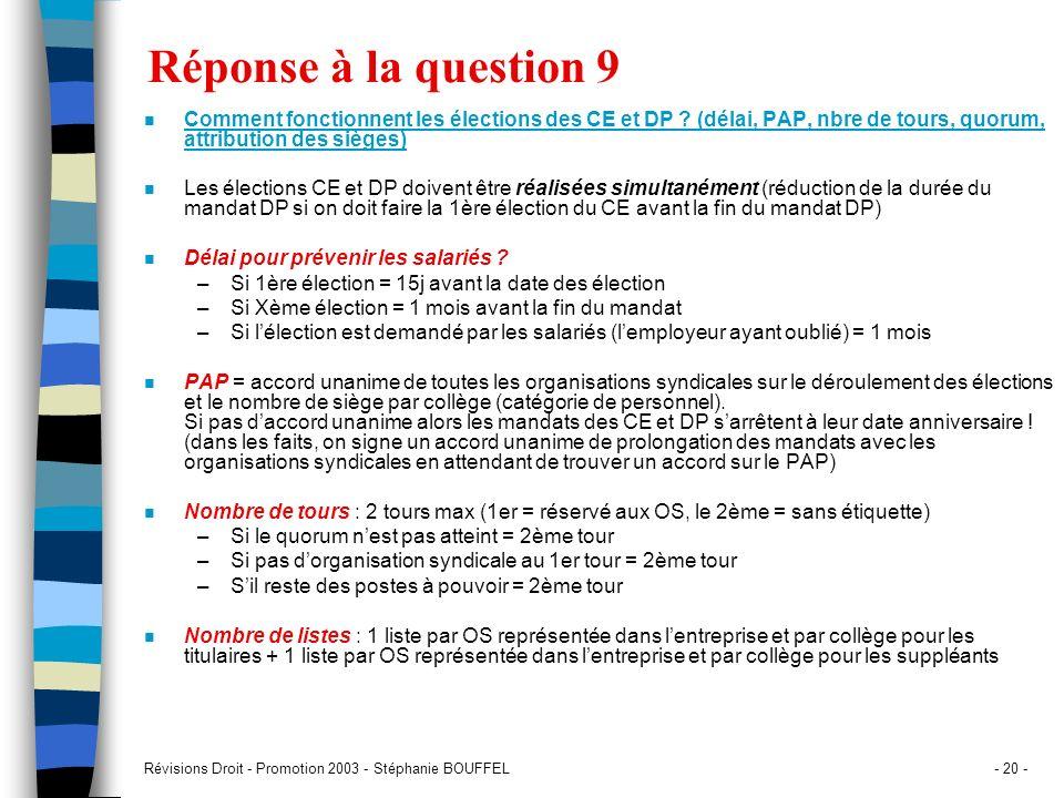 Révisions Droit - Promotion 2003 - Stéphanie BOUFFEL- 20 - Réponse à la question 9 n Comment fonctionnent les élections des CE et DP ? (délai, PAP, nb